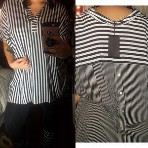 Jane & Delancey striped top w cute back detailing